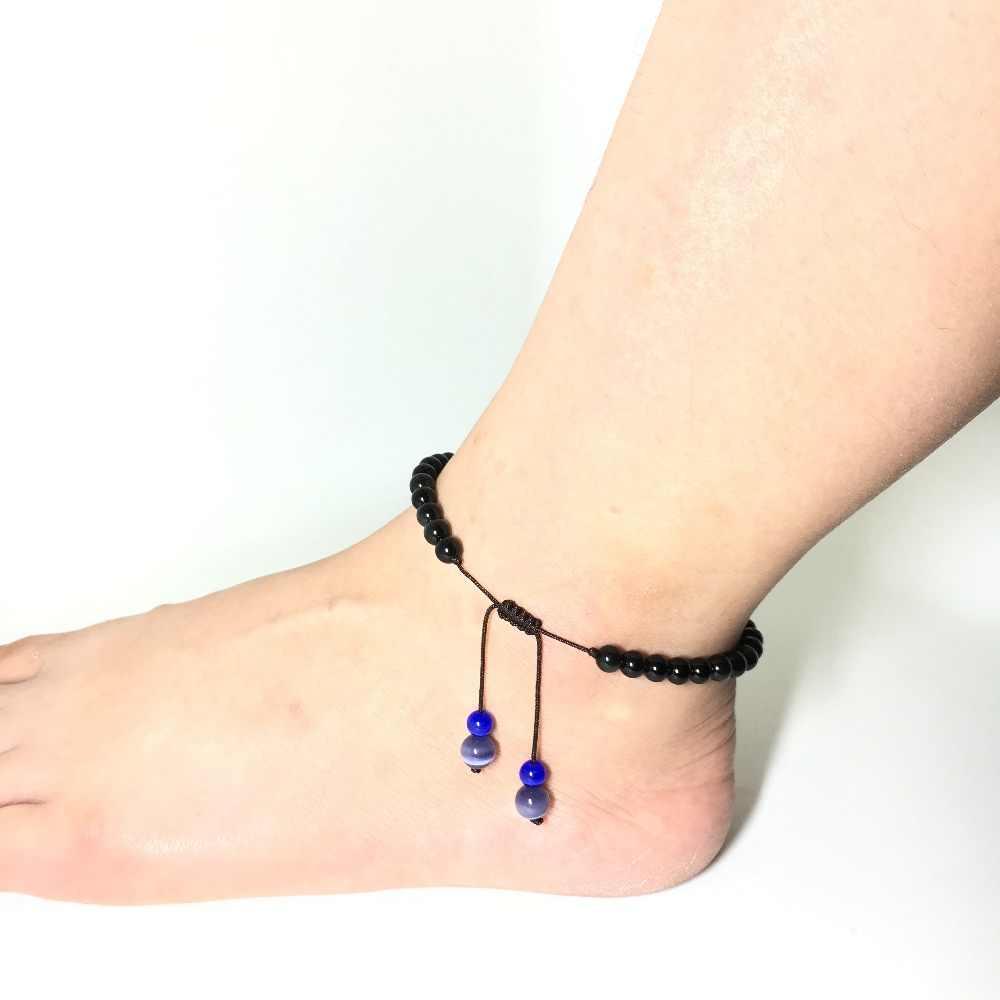 Kamień naturalny obsydian łańcuszek na kostkę 6-8mm okrągły regulowany koraliki kostki bransoletka mężczyźni obrączki dla kobiet na nodze łańcuch stóp biżuteria