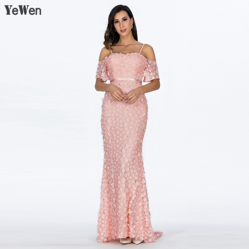 Sexy Short Sleeves Mermaid Flower Gala Formal   Dress     Evening     Dresses   2019 Long Beaded Elegant Lace Pearls Prom Party Gown YeWen