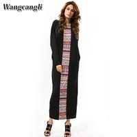 Wangcangli High Quality Splicing Maxey Europe And America Style New Fashion Bat Long Sleeve With O