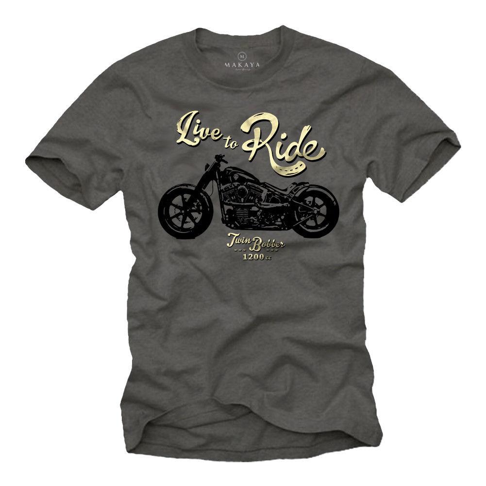 2019 heißer verkauf Mode T hemd Motorrad Herren T-Shirt mit Benutzerdefinierte Twin Bobber-Live zu Fahren Biker Weise Hemd t shirt