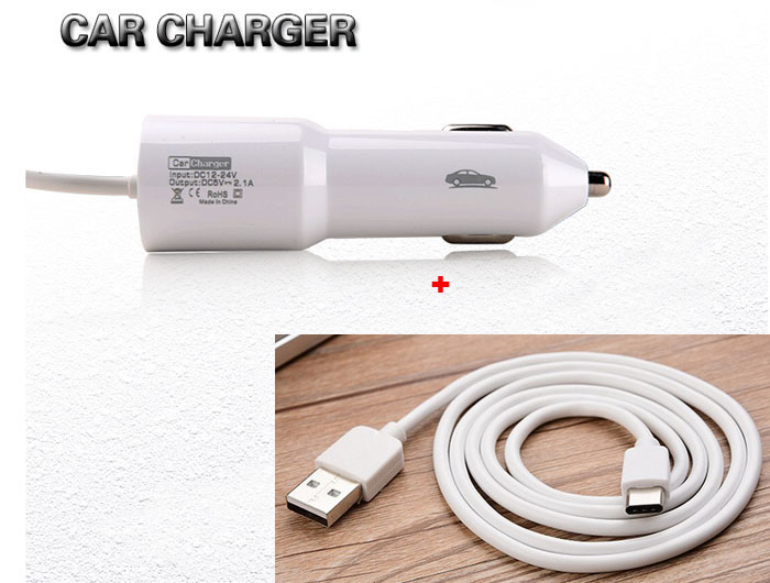 2.1a Тип B USB мобильный телефон автомобильное Зарядное устройство зажигалка + Тип c USB кабель для <font><b>Huawei</b></font> <font><b>p10</b></font> <font><b>p10</b></font> Plus коврики 9 Коврики 9, ZTE Axon 7 s