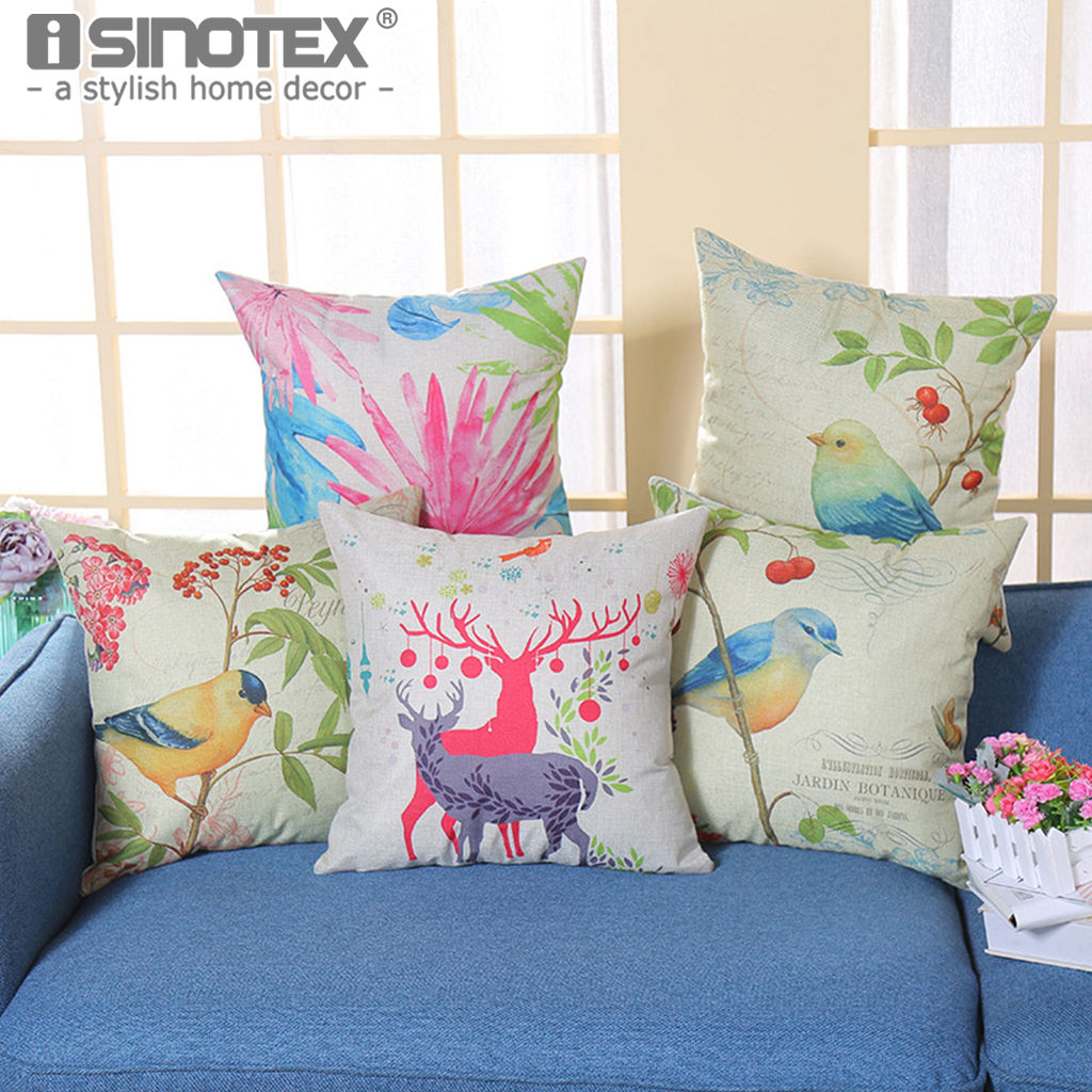 Cushion Cover Bird Deer Elk Floral Printing Santa Claus Linen Throw Pillowcase Christmas New Year Gifts 18*18 Pillow Case