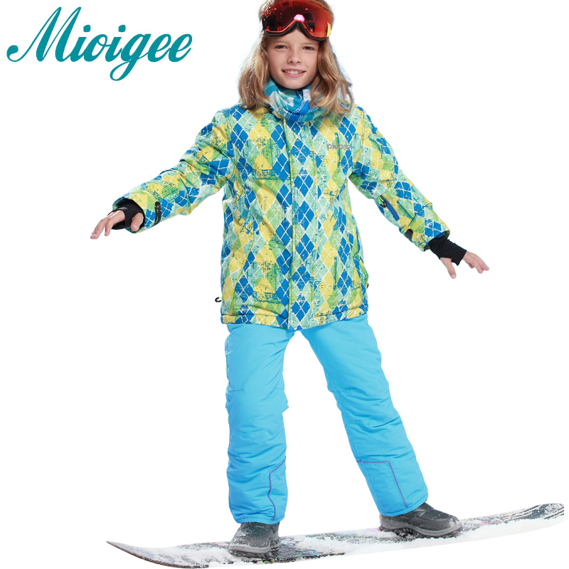 Mioigee 2017 Kids boys clothes ski sets Waterproof Windproof jacket+pants 2pcs set children winter outdoor ski s for girls 6-16T 6 16 years outdoor clothes kids warm ski suit winter boys clothing set children plaid skiing jacket bib pants 2pcs for winter