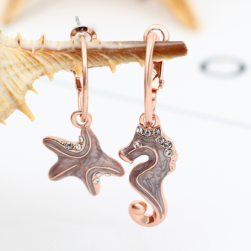 Kemstone Asymmetric Crystal Dangle Earrings Sea Horse And Starfish Earrings Women Jewelry