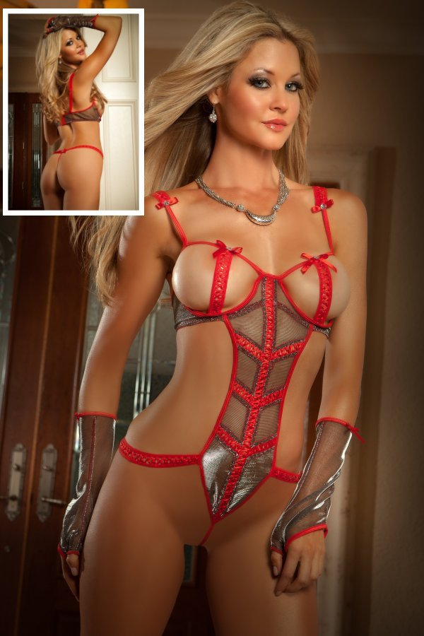 Hot Sale Open Bust Teddy 3S5326 Shimmery Metallic Mesh -4396