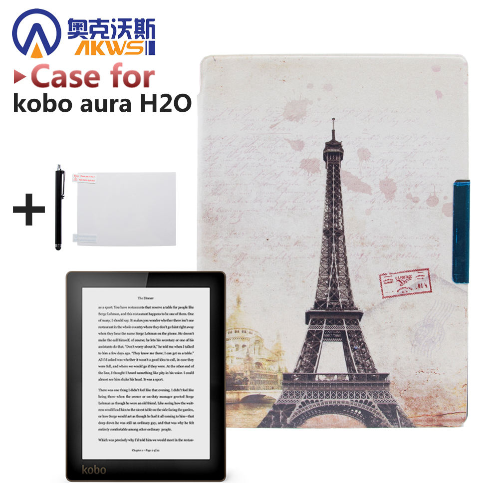 Magnetic PU leather cover case protective cover skin for 2014 kobo aura h2o 6.8'' ereader smart cover case protective lichee pattern pu leather flip open case for kobo mini black