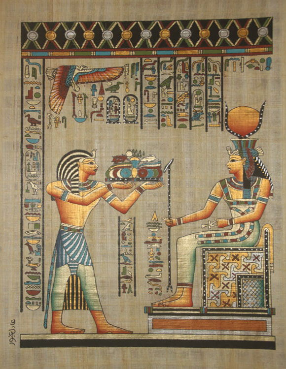 "Egyptian Wall Decor wall decor egyptian papyrus ""ramses the great & hathor"" hand"