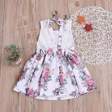 Summer Toddler Baby Girl Dresses Outfit Fashion Lace Floral Sling Halter Clothes Kids for Girls 1-6T