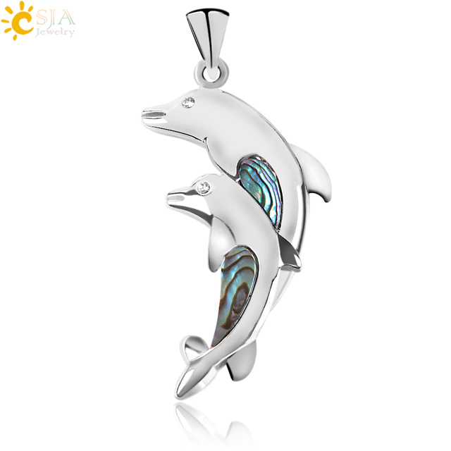 CSJA New Zealand Natural Abalone Shell Animal Double Dolphin Pendant Necklace Sweet Jump Ocean Style Women Sunshine Jewelry E919