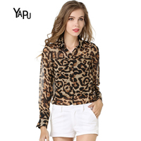 YAPU delle 2018 Donne di Modo nuovo stile allentato shirt Leopard Print Chiffon Manica Lunga Camicia di Grandi Dimensioni delle Donne Chiffon camicetta
