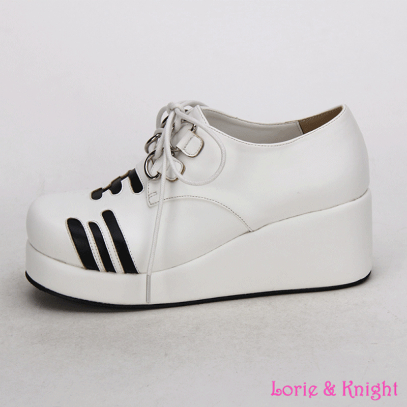 ФОТО 2016 New Style White Tiger Cute Lolita Cosplay Shoes Platform Wedge Heel School Girls Lace Up Sweet Shoes