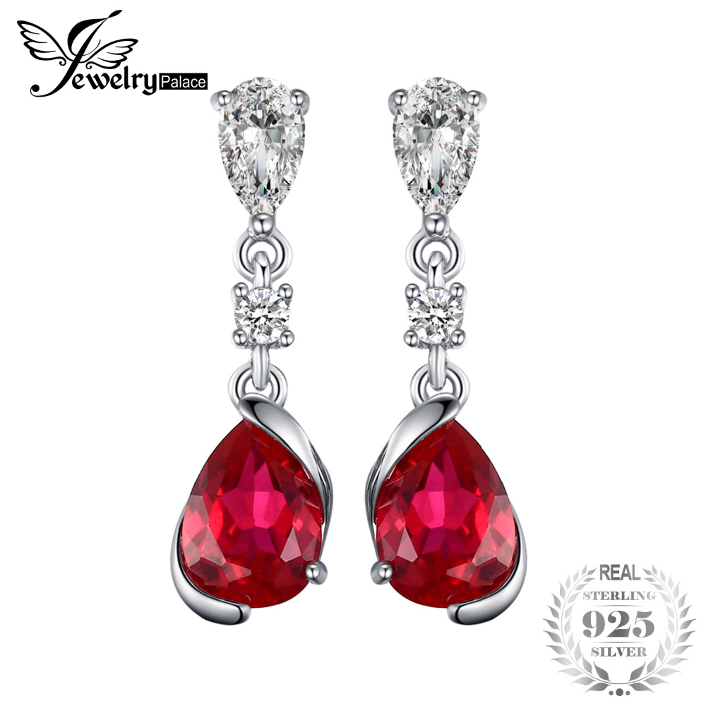 JewelryPalace 2.4ct Pear Red Created Ruby Drop Earrings 925 Sterling Silver New Fashion Earrings For Women Wedding Jewelry jewelrypalace new 1 3ct pear created alexandrite sapphire water drop earrings 925 sterling silver fashion fine jewelry for women