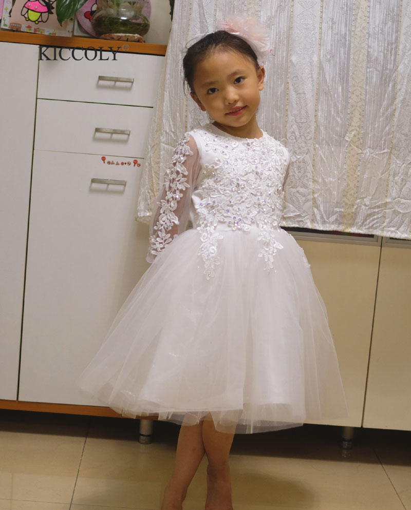 2017 White Elegant Girl  Lace Wedding Dress Princess Birthday Dress Handmade Embroidered Bead 7 Sleeve TuTu Dress For kid 1T-12T 1 design laser cut white elegant pattern west cowboy style vintage wedding invitations card kit blank paper printing invitation
