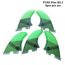 Surf  FCSII K2.1 Quilhas Honeycomb Fins fibreglass 5pcs per set FCS2 Surfing 4 color