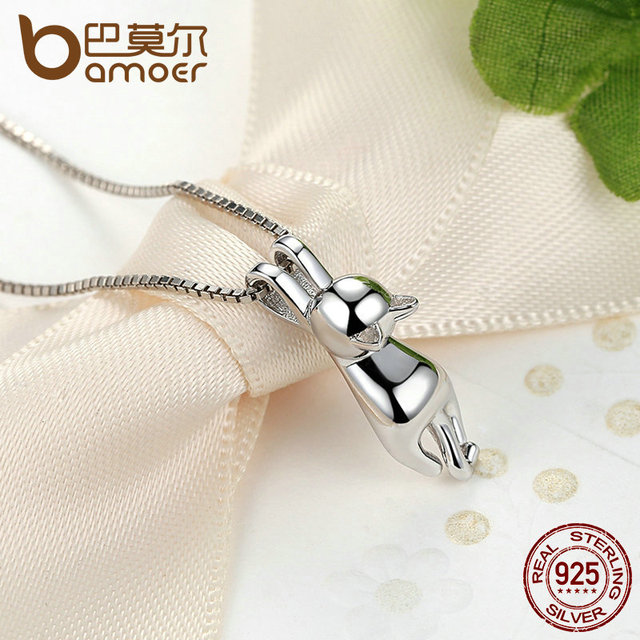 Sterling Silver Lovely Cat Long Tail Necklace