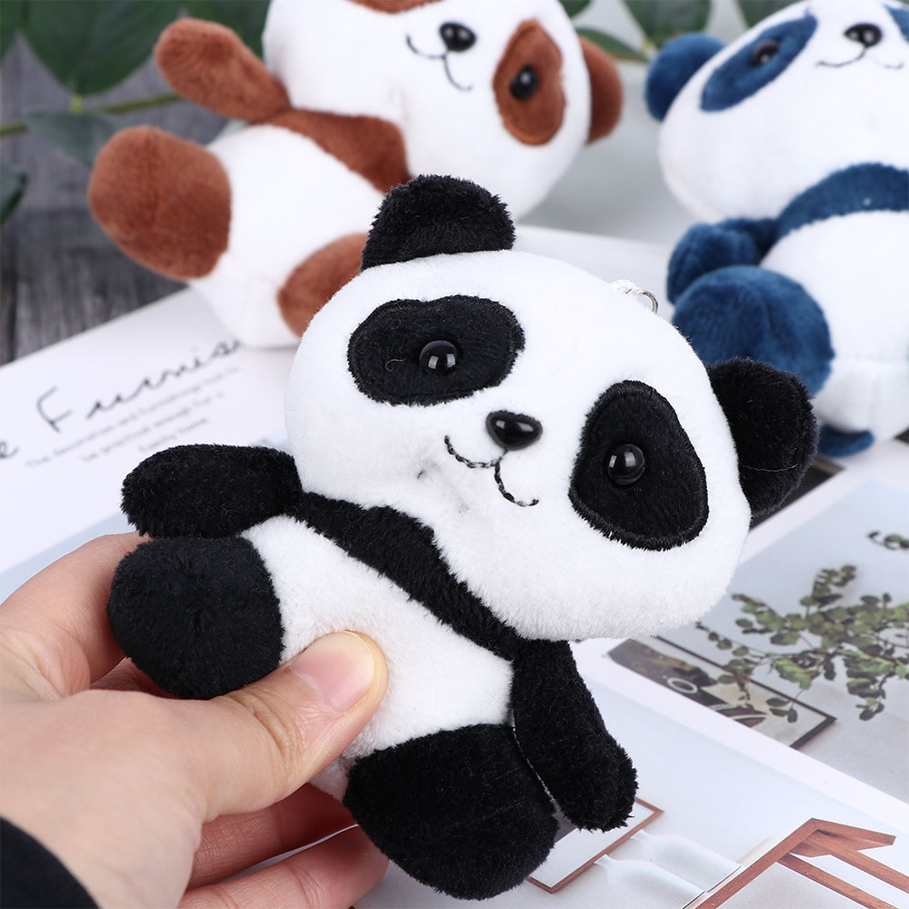 Cute Pluff Panda Keychain Key Pendant Lovely Panda Bear Animal Key Chains Women Girls Bag Car Fake Fur Keyring Kids Gift