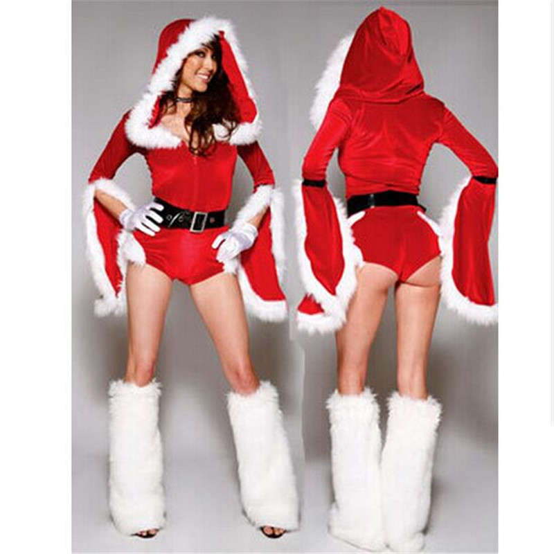 d4cb054e9b0 2017 high quality Red Long Sleeve White fur Christmas Costume Women ...