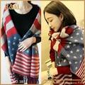 Bandera Americana de La Bufanda de Lana de cachemira Mujeres de la Marca Chales Y Bufandas De Invierno Gruesa de Algodón Caps manta A Cuadros