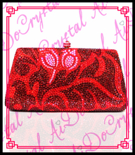 Aidocrystal Stylish Women Hot Red Crystal hand Bag clutch evening Shoulder Bag For Girls