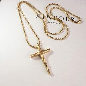 Mclroy Трендовое ожерелье из титановой нержавеющей стали, простой крест, свитер, длинное ожерелье с кулоном для мужчин и женщин, Подарочная цеп...
