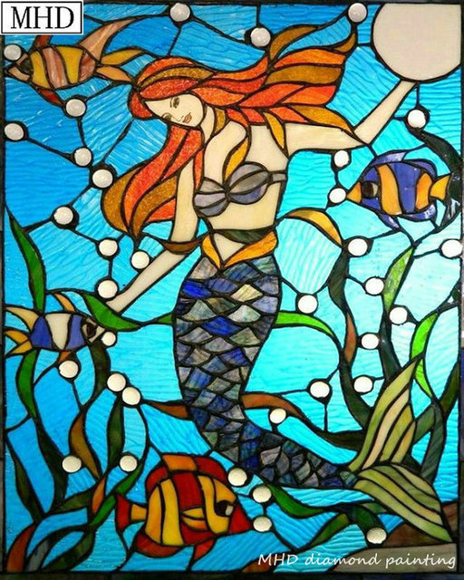 Mermaid Stained Glass Pattern 5d Diy Diamond Painting Cartoon Mosaic