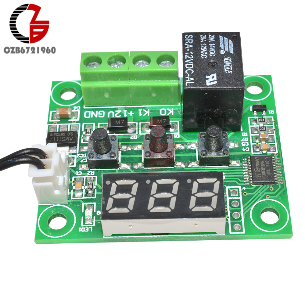 W1209 Dc 12v Led Digital Thermostat Temperature Controller How To Build Controlled Switch Thermometer Thermo Control Module Ntc Sensor Relay Diy Indoor 6