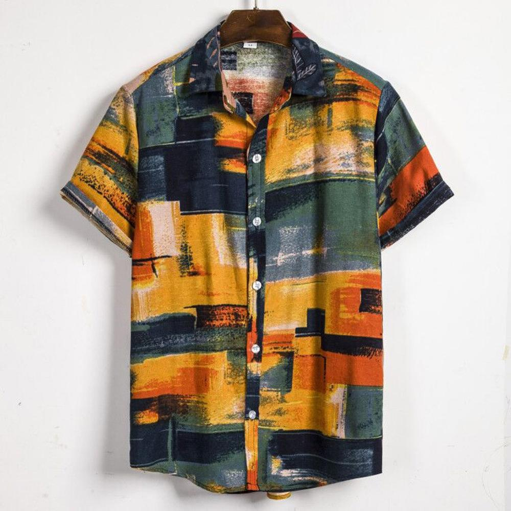 Mens Ethnic Short Sleeve Casual Cotton Linen Printing Hawaiian Shirt Blouse Couple Loose Fit Hawaii Vintage Yellowhigh Quality