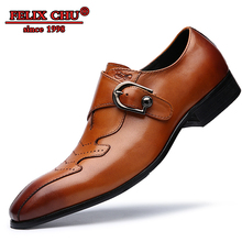 MEN DRESS SHOES GENUINE LEATHER BROGUE BROWN BLACK HASP POINTED LUXURY BUSINESS OFFICE FORMAL