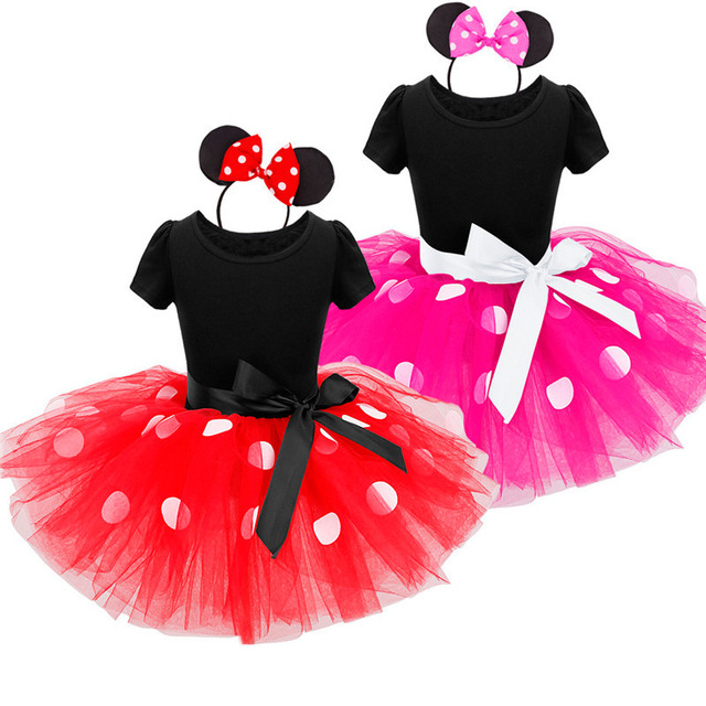New Summer minnie kids dresses for girls princess party children girls clothing Cosplay Girls Minnie Dress+Headband Baby 2-7Y