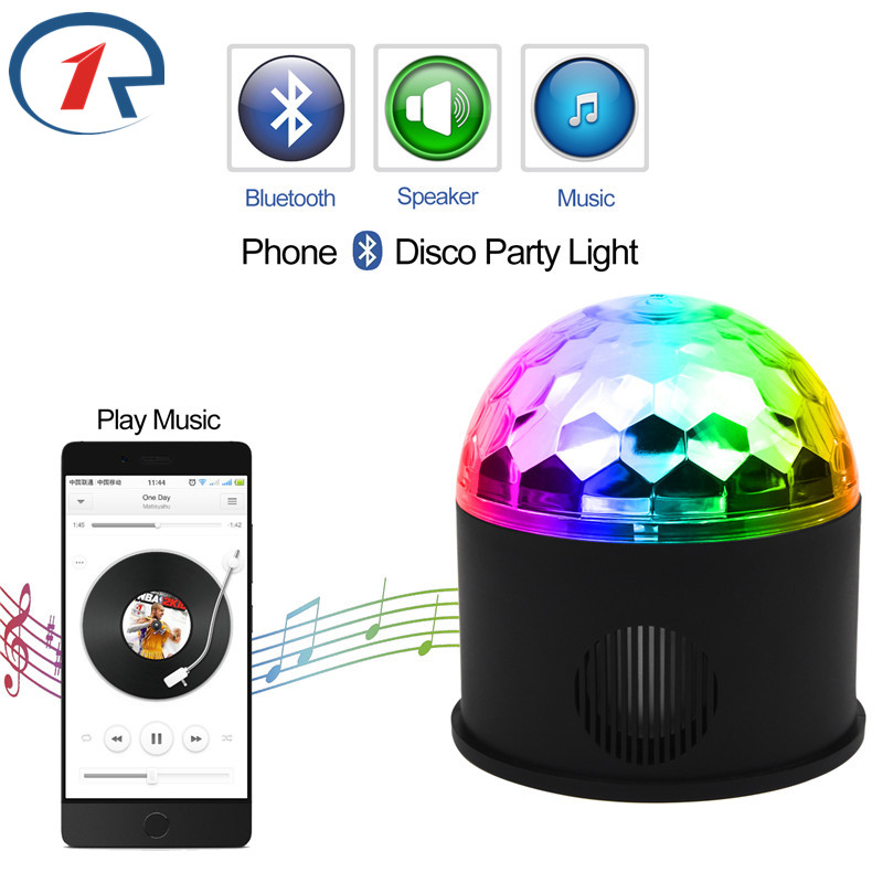 ZjRight Remote RGB LED Bluetooth Music control Crystal Magic Ball Stage Light rotation Speaker Colorful ktv DJ disco gift Lights
