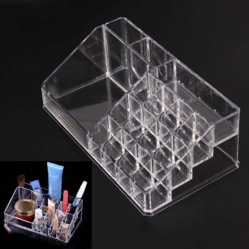 Crystal Cosmetic Makeup Organizer Jewelry Lipstick Brush Insert Holder Box Functional Transparent Plastic Desktop Storage Box