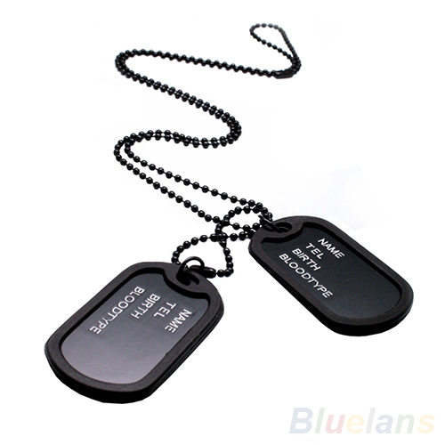 New Military Army Style Black 2 Dog Tags Chain Menss