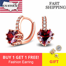 Uloveido Korean Wedding Earrings for Women Earings with Red Heart Stones Rose Gold Color Stud Earring Bijoux Brincos 2017 HE515