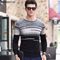 AIRGRACIAS 2017 New Autumn Winter Sweater Men O Neck Slim Fit Winter Pullover Men Solid Color