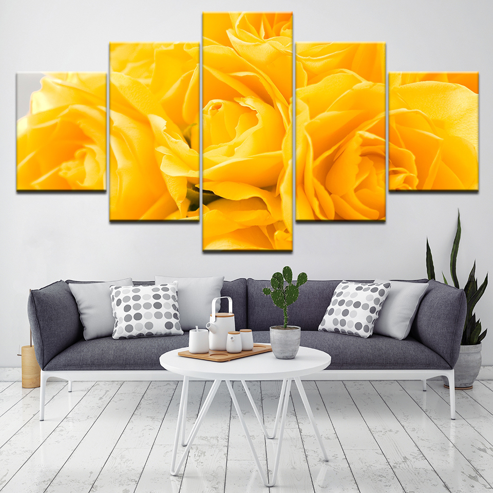 5 Panels Modular Canvas Printing Yellow Roses Flower Wall Art ...