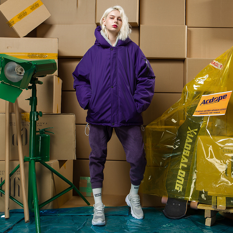 2018 INS Popular New Style Winter Coat Women Loose Puffer   Parka   Student Hooded Coat Women Full Sleeve Streetwear Clothing Purple
