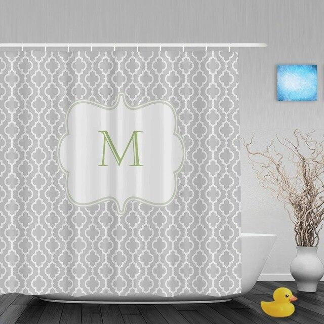 Customized Gray Green Damask Shower Curtain Monogram Home Decor