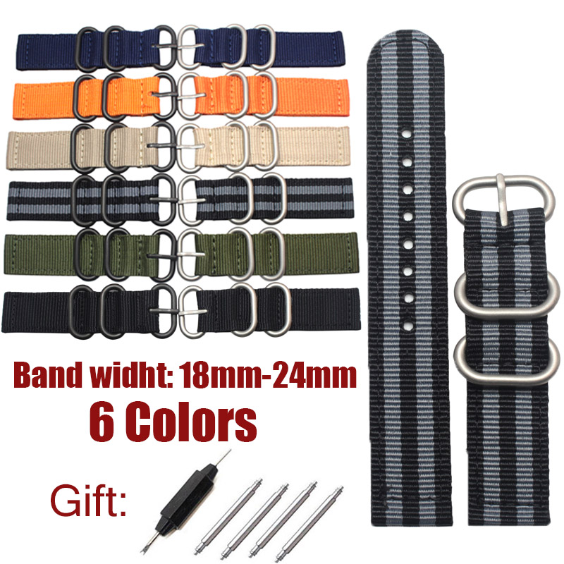 18mm 20mm 22mm 24mm Watch Band Straps Men Women Fashion 6 Colors Nylon Canvas Watchbands With Silver Black Pin Buckle durable 20 24 26 27 28 mm soft watch bands for diesel watch dz7313 dz7322 dz7257 women s men s watch straps with sliver buckle