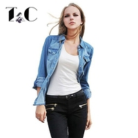 TC Jeans 2014 Women Clothing Nostalgic Vintage Water Wash Gradient Women Long Sleeve Denim Shirt
