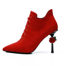 2018 Newest Luxury Rose Heel Bootie Red Lace Up High Pumps Women Suede Party Autumn Shoes