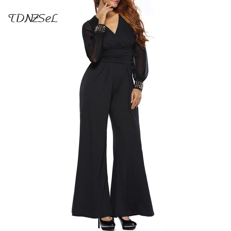 Overalls Women Mesh Black High Waist V Bodysuit Long Rompers Deep Rivet Loose Solid Patchwork Casual blue Wide Jumpsuits Sleeve Summer burgundy Leg fUx5qdwU