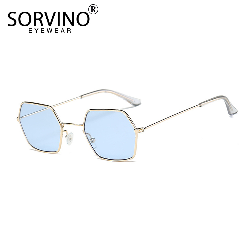 SORVINO Hexagon Sunglasses Shades Crystal Clear Rectangle Tiny Rave Blue Women Designer