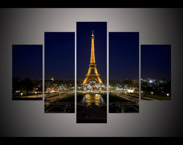 Modern Living Room Bedroom Wall Decor Home Decor Eiffel Tower At Night  Cityscape Canvas Wall Art Part 67