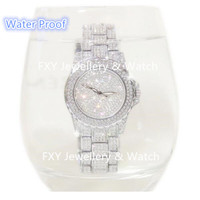Water Proof Women Full Rhinestone Watch High Quality Diamond Dress Watches Lady Stainless Steel Band Relojes