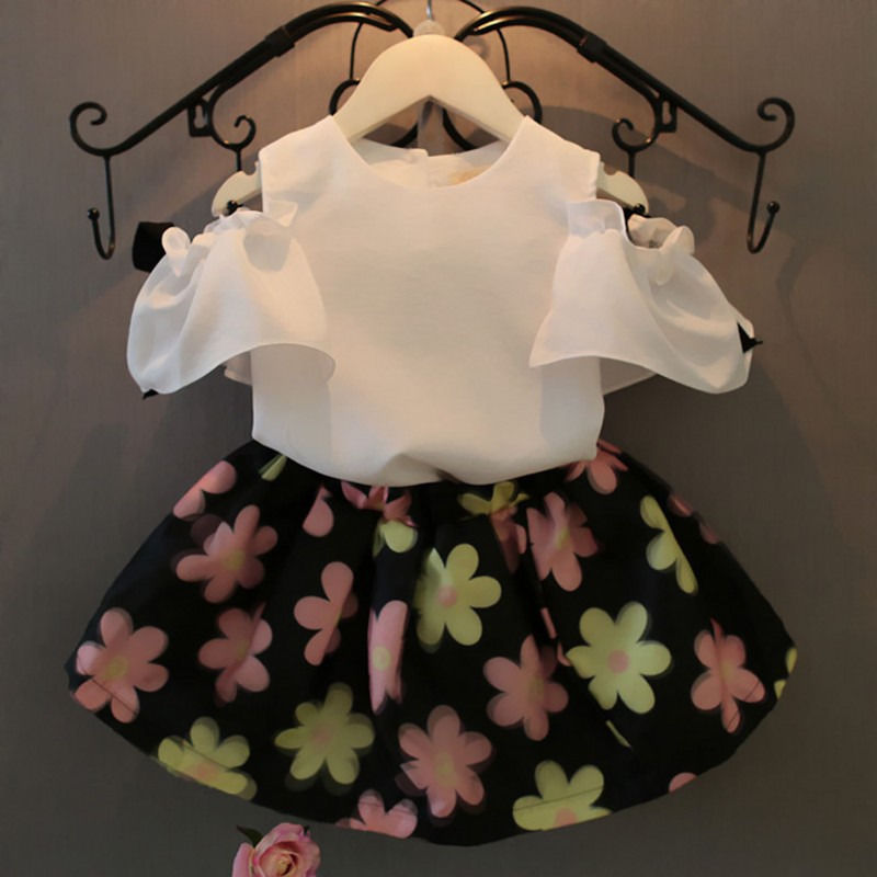 Flower Summer White Chiffon Outfits 2pcs Set Cute Girl Tops Shirt Floral Ball Skirt Kids Girls Baby Clothing 2pcs Clothes Sets princess toddler kids baby girl clothes sets sequins tops vest tutu skirts cute ball headband 3pcs outfits set girls clothing