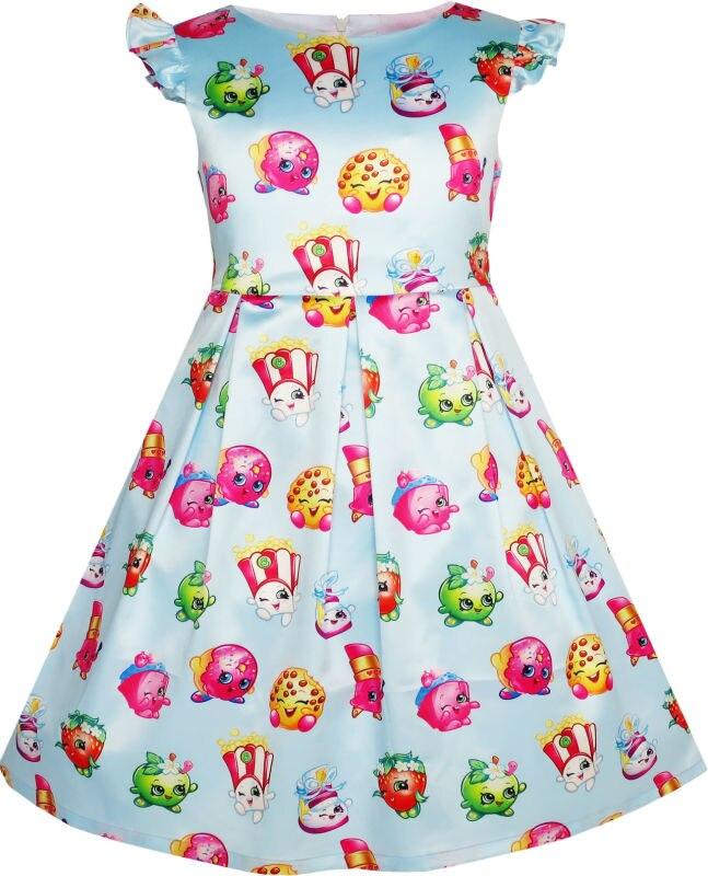 Sunny Fashion Girls Dress Apple Blossom Strawberry Kiss Poppy Corn 2017 Summer Princess Wedding Party Dresses Clothes Size 4-12 sunny fashion girls dress satin blue sky butterfly city building 2017 summer princess wedding party dresses clothes size 4 10
