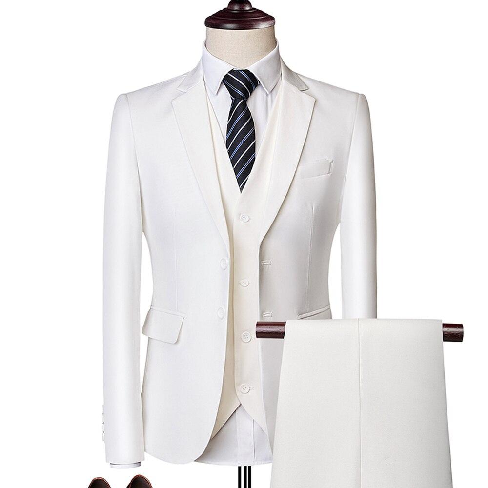 Merveilleux marié mâle mariage bal costume vert Slim Fit smoking hommes formel affaires travail porter costumes 3 pièces ensemble (veste + pantalon + gilet) - 6