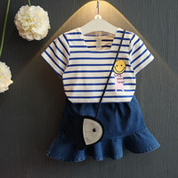 FagorBears Summer Style Kids Clothing Girls Clothes Sets Smile Face Striped T Shirt Denim Skirt 2pcs