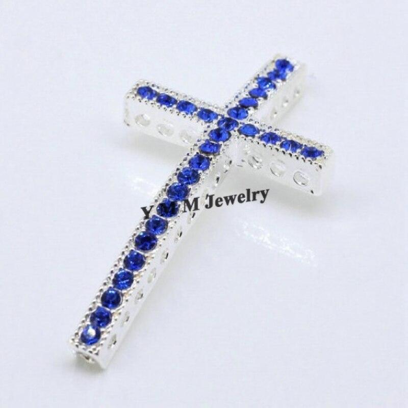 674b06c96a96 20 unids 25x48mm Silver plating Curved Cruz Azul Crystal rhinestone  conector bar