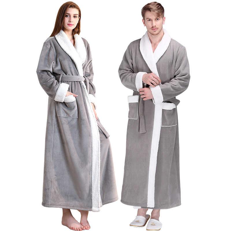 男性冬エクストラロング厚い暖かいフランネルフリースバスローブメンズ高級着物バスローブ女性のセクシーな毛皮ローブ男性ドレッシングガウン